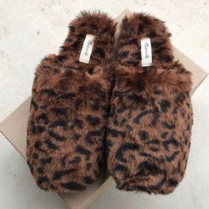 Madewell Faux Fur Animal Print Slipper, NWT Sz 8